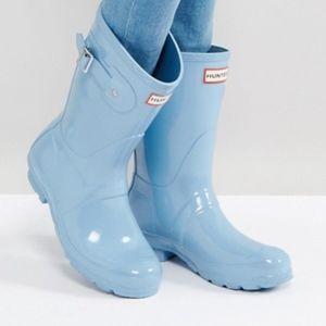 Pale Blue Original Short Gloss Hunter Rain Boots